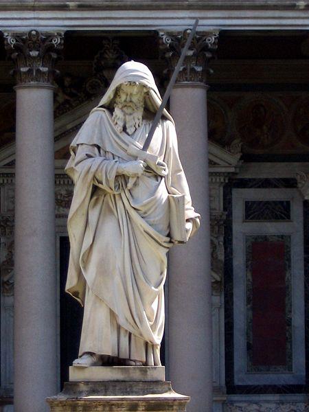 Ап. Павел. Статуя в атриуме базилики св. Павла за городскими стенами (Сан Пауло фуори ле Мура). Рим