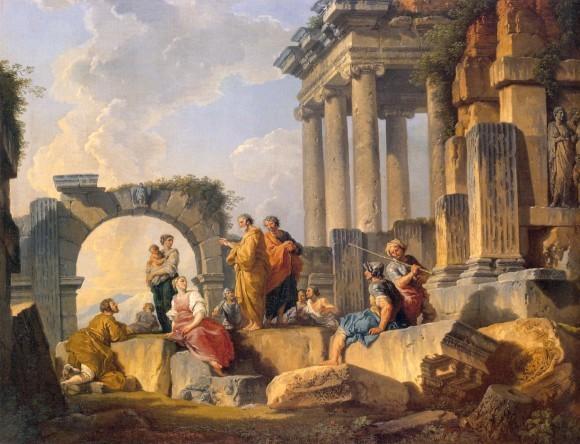 Джованни Паоло Паннини. Развалины со сценой проповеди апостола Павла. 1744