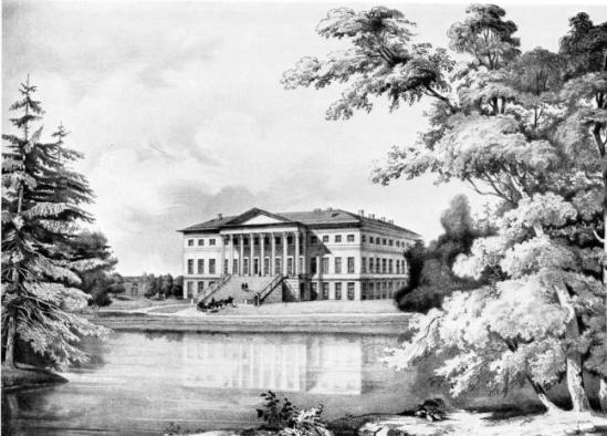Английский дворец. Литография К. К. Шульца. Середина XIX века