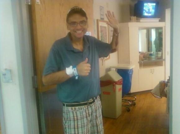Момент выписки из больницы после второй пересадки печени.