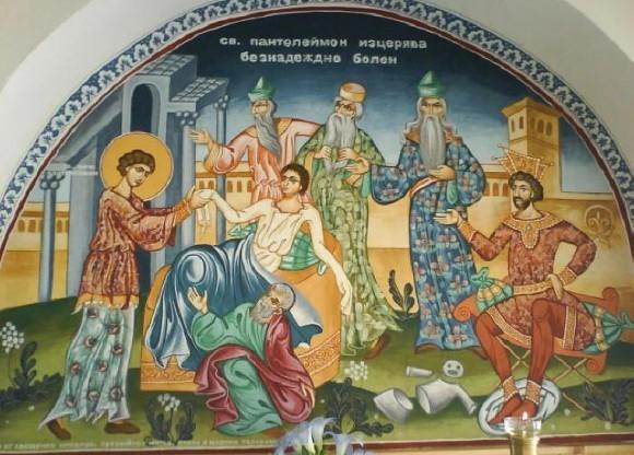 Святой Пантелеймон исцеляет безнадежно больного