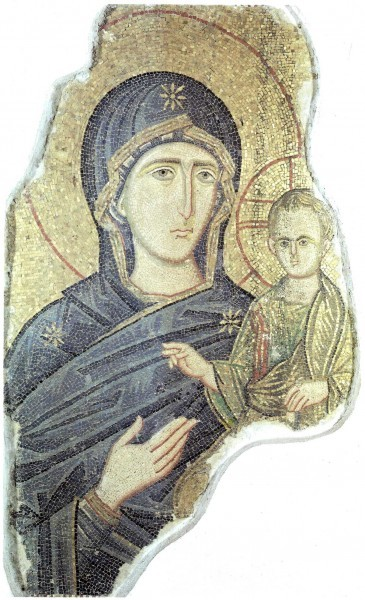 Смоленская икона Божией Матери. Мозаическая икона. 1-ая половина XIII в. Национальня галерея, Палермо, Италия