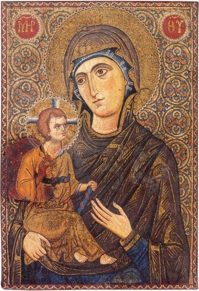 Смоленская икона Божией Матери. Мозаическая икона. Византия. XIII в. Монастырь св.Екатерины, Синай, Египет