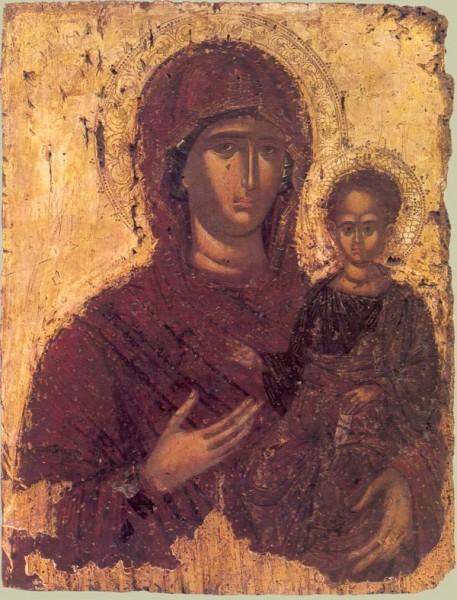 Богоматерь смоленская Одигитрия. Византия. Середина XV в. Частное собрание.