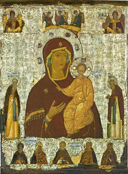 Богоматерь Одигитрия с Троицей и избранными святыми. Конец XV в. ГТГ, Москва