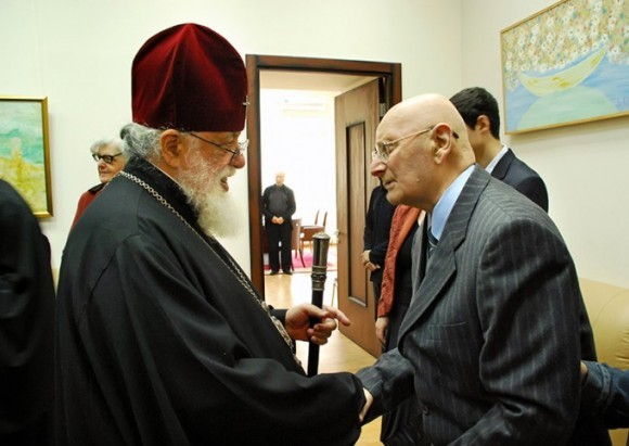 Католикос-Патриарх Всея Грузии Илия II с Тамазом Гамкрелидзе, президентом Грузинской Академии наук
