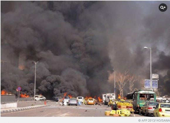 Пожар после взрыва в центре Дамаска