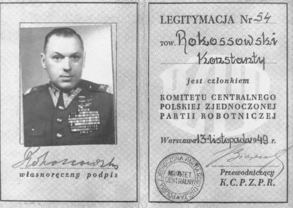 Польский партбилет К.К. Рокоссовского