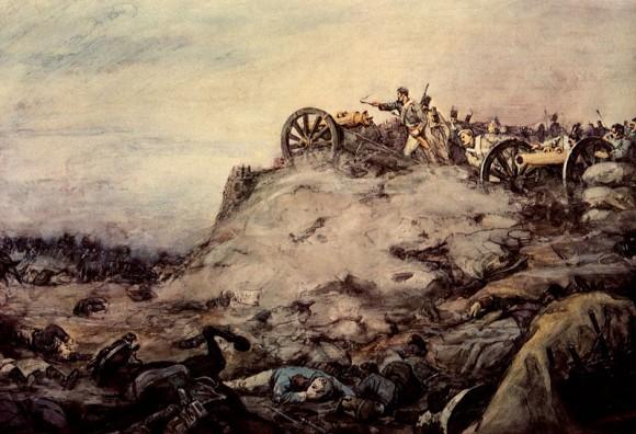 Горелов Р. На артиллерийской позиции (Русская батарея на флешах Багратиона)