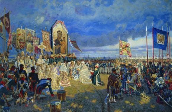 Е. Зайцев. Молебен на Бородинском поле