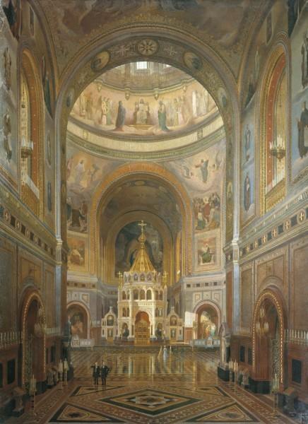 Ф. А. Клагес. Внутренний вид храма Христа Спасителя (1883 г.)