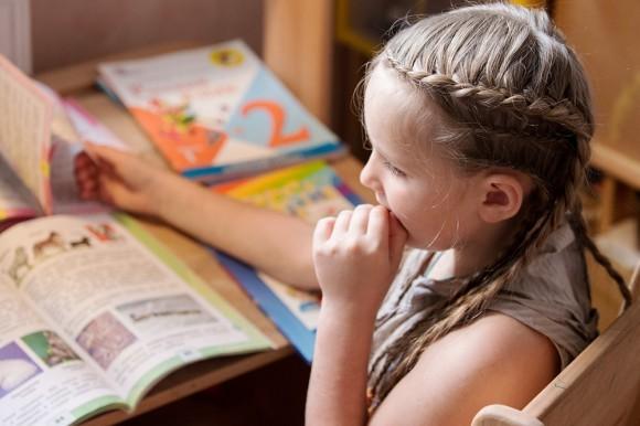 Иришка листает новый комплект учебников, ей уже интересно, что же она будет проходить во втором классе