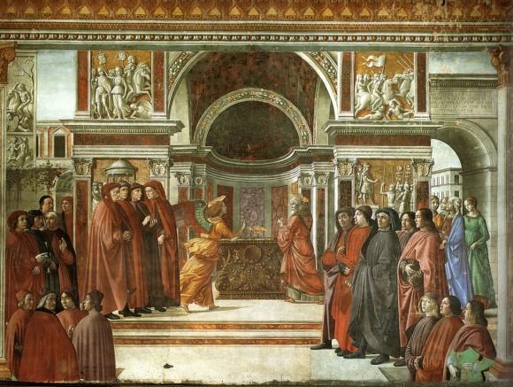 «Благовещение о рождестве Иоанна Предтечи», фреска Доменико Гирландайо в капелле Торнабуони