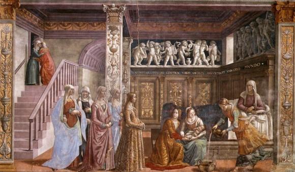 Доменико Гирландайо. Рождество Девы Марии.Фреска в церкви Санта Мария Новелла.1485—1490 гг.. Флоренция, Италия