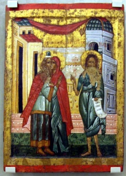 «Зачатие Иоанна Крестителя» (встреча Захарии и Елиcаветы; справа изображена фигура их будущего сына)