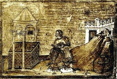 Убийство Захарии (миниатюра из Минология Василия II, 976—1025 гг.)