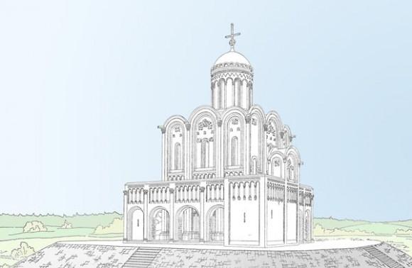 Храм Покрова на Нерли, реконструкция первоначального вида по Н.Н.Воронину