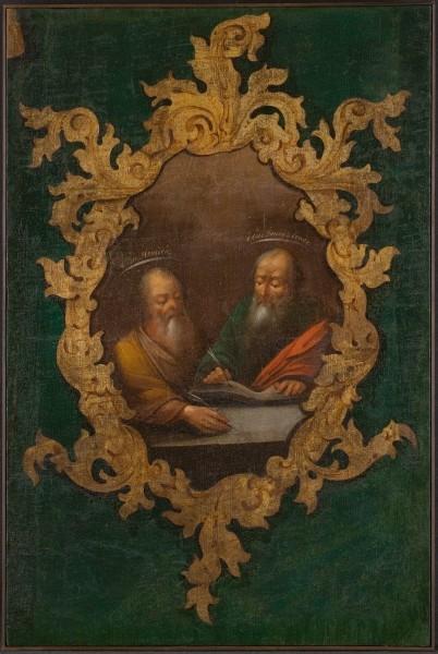 Холст, бывший частью декора аналоя. Неизвестный художник. «Евангелисты Матфей и Иоанн». Рубеж XVIII-XIX вв.