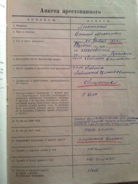 Анкета из следственного дела священника Василия Архангельского
