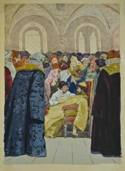 Бубнов А.П.  Иллюстрация к произведению А.С. Пушкина Борис Годунов  бум., акв., гуашь 44х32 см