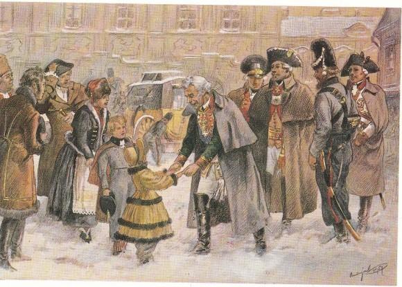 В середине ХХ века художник Андрысек вспомнило пребывании Суворова в Богемии, в городе Колин...