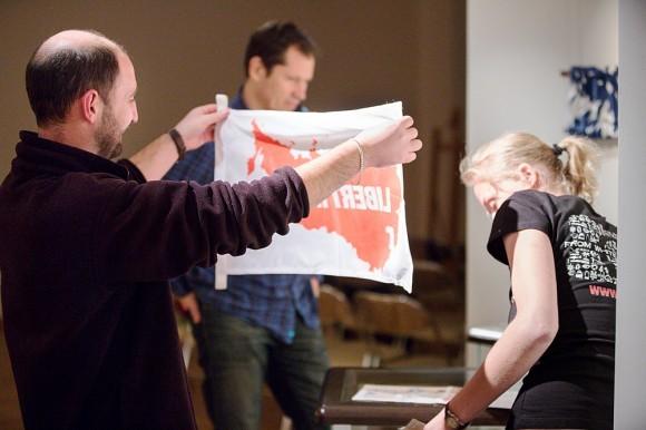 Подготовка экспозиции, флаг «Liberty.su»