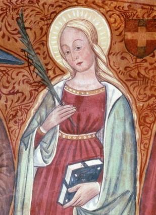 Деталь фрески Святой Анастасиии в селе Сале Сан Джовани