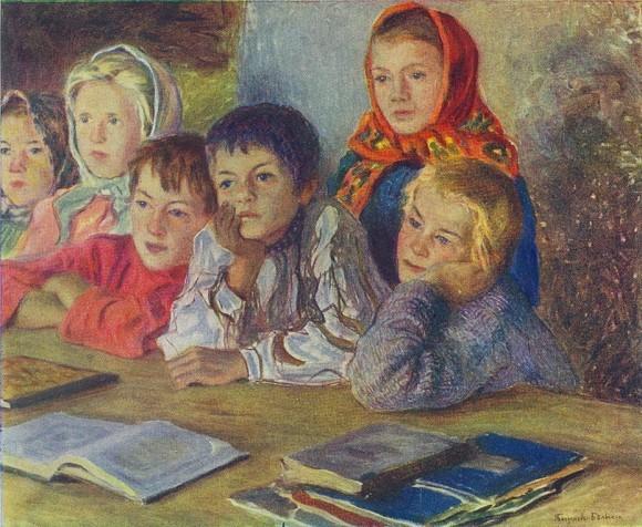 """Николай Богданов-Бельский, """"Дети на уроке"""
