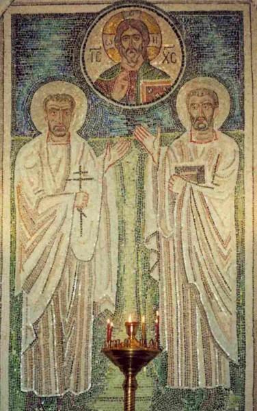 Мозаичная икона в притворе храма Космы и Дамиана в Шубине. icxc.narod.ru