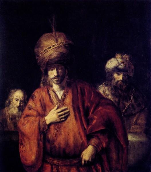 Рембрандт. Давид и Урия. Ок. 1665