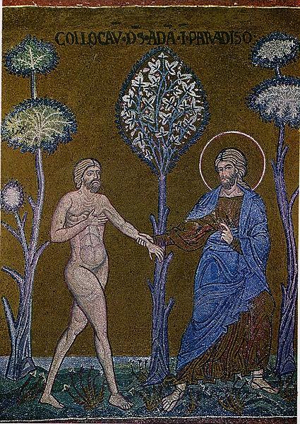 Бог вводит Адама в рай. Мозаика из собора Мадонны Ассунта. Италия. XII в