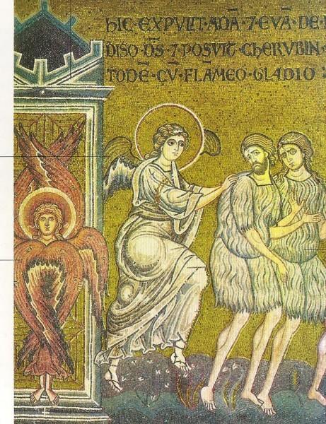 Изгнание из рая. Мозаика из собора Мадонны Ассунта. Италия. XII в