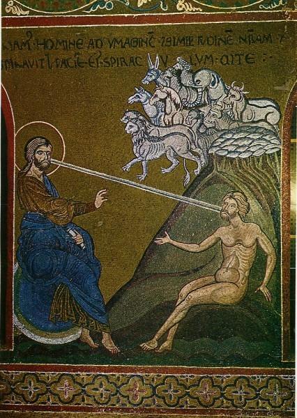 Сотворение Адама. Мозаика из собора Мадонны Ассунта. Италия. XII в