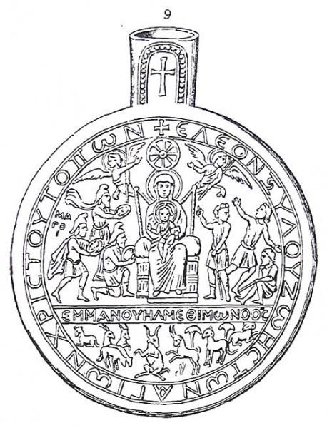 Поклонение волхвов и пастухов. Прорись ампулы. Палестина. VI-VII в. Собрание собора г. Монцы, Италия