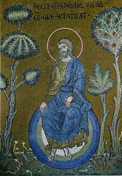 Бог почил от дел Своих. Мозаика из собора Мадонны Ассунта. Италия. XII в