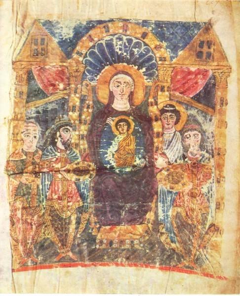 Миниатюра Эчмиадзинского Евангелия. VI в. Институт древних рукописей Матенадаран, Ереван, Армения