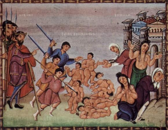 Святые мученики 14000 младенцев от Ирода в Вифлееме избиенные. Кодекс Гертруды, кон. X в. Чивидале, Италия