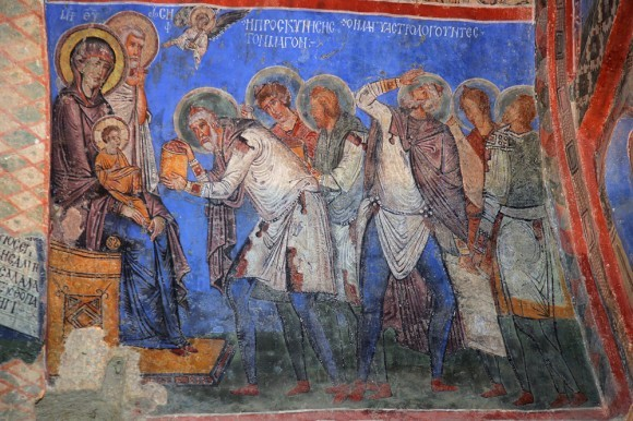 Поклонение волхвов. Фреска ц. Токали килисе в Гёреме. X-XI в. Каппадокия, Турция