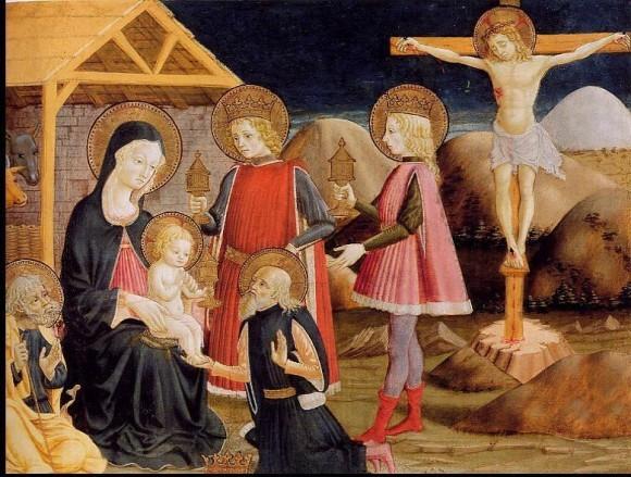 Бенедетто Бонфильи. Поклонение волхвов и Христос на Кресте. Середина XVв. Британская национальная галерея, Лондон