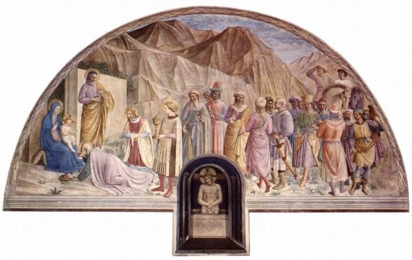 Фра Беато Анджелико. Поклонение волхвов. Фреска монастыря Сан Марко. 1440-1441 г. Флоренция, Италия