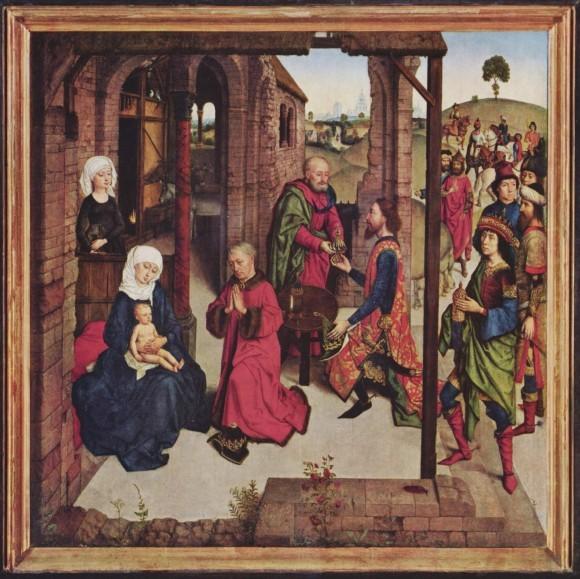 Дирк Боутс. Центральная часть алтаря «Жемчужина Брабанта». 1467г. Старая Пинакотека, Мюнхен, Германия