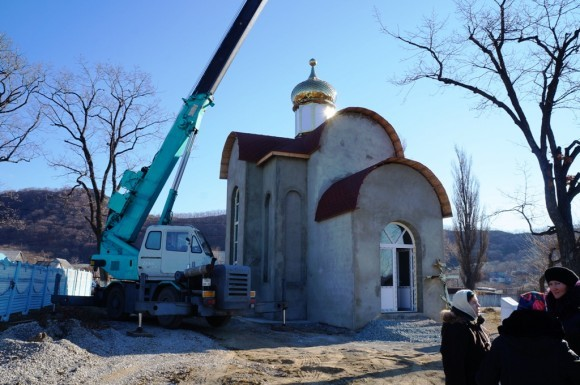 Заканчивается строительство храма в Екатериновке. Автор фото: Анатолий Бурехин, РИА PrimaMedia