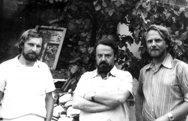Прот. Александр Мень, д. Александр Борисов, искусствовед Евгений Барабанов. Коктебель, 1976 г.