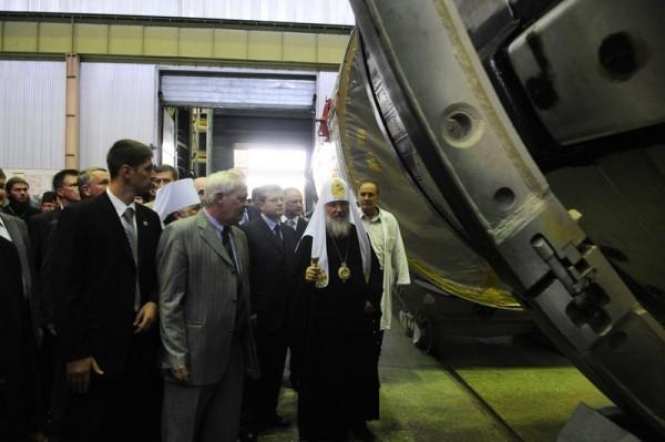 Патриарший визит на Украину. Посещение производственных помещений предприятия «ЮЖМАШ» в Днепропетровске
