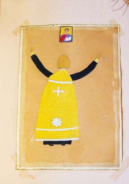 Портрет о. Александра Борисова, нарисованный 20 с лишним лет назад одним из учеников воскресной школы.