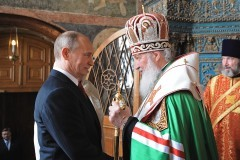 Президент России В.В.Путин поздравил Патриарха Кирилла с пятилетием интронизации