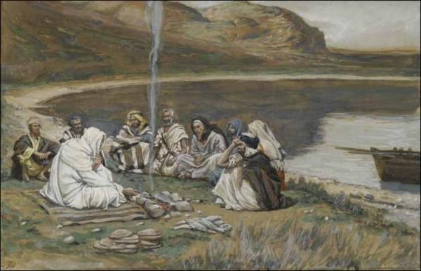 Иисус ест со своими учениками. Джеймс Тиссо