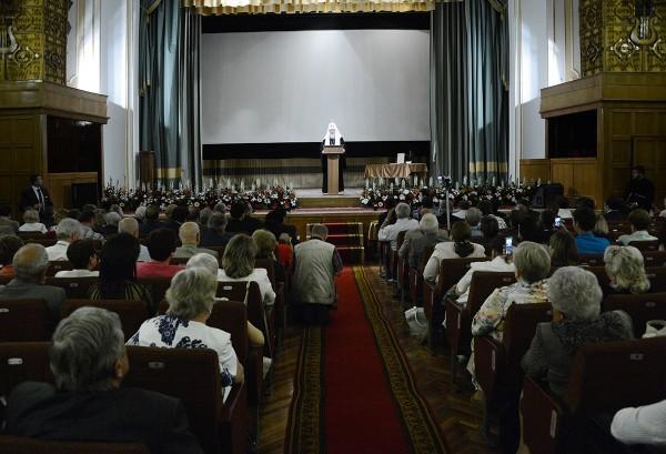 Посещение Святейшим Патриархом Кириллом торжественного акта, посвященного 50-летию Российского научного центра хирургии