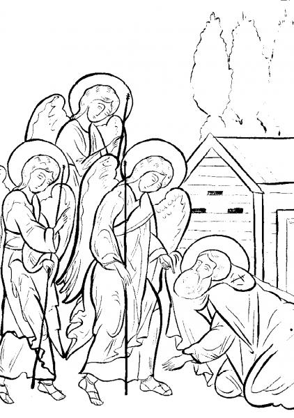 Явление Святой Троицы преподобному Александру Свирскому. Прорись иконы XVII в. (фрагмент)