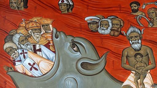 В Черногории на фреске, символизирующей ад, изобразили Маркса, Эгельса и Тито